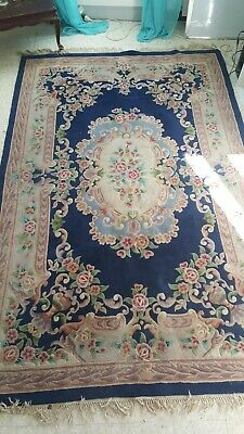 Ancien Grand Tapis Rectangulaire Laine Fait Main Chine Motif Floral 1m83x2m82