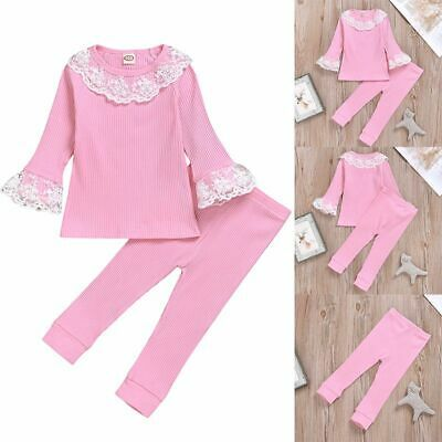 UK Toddler Kids Baby Girls Clothes Lace Ruffle Top T-shirt Pants Leggings Outfit