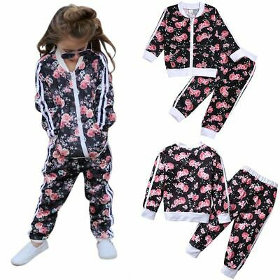 Kids Baby Girls Zipper Floral Tops Jacket Coat Pants Outfits Tracksuit Age 2-7Y