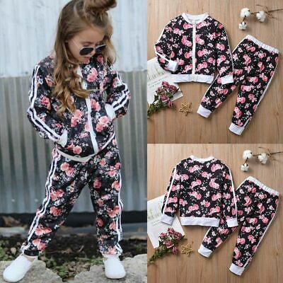 Kids Baby Girls Zipper Floral Tops Jacket Coat Pants Casual Clothes Tracksuit