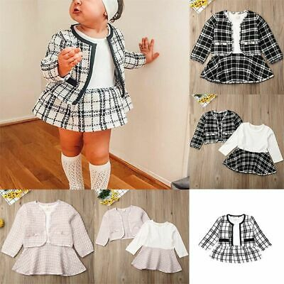 UK New Kids Baby Girl Pageant Plaid Coat & Tutu Dress Party Outfits Clothes Set