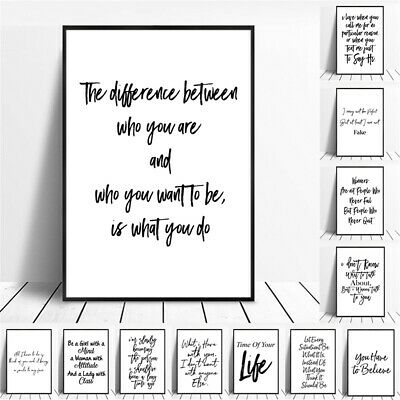 Black White English Inspiring Quotes Print Typography Canvas Poster  Home Decor