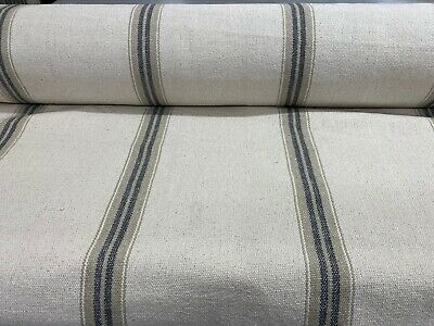 French Vintage  Cream/Blue Heavy Woven Striped Cotton Upholstery/Curtain Fabric