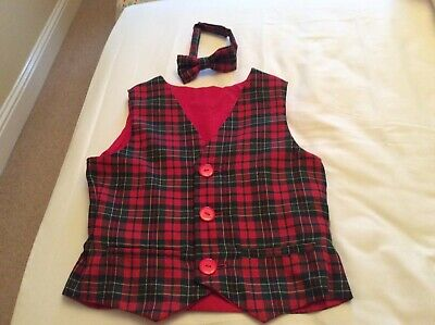 2 Handmade Tartan Waistcoats with matching bow ties. Ideal for wedding etc.