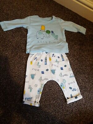Marks And Spencer Baby Boy Outfit Top Trousers 0-3 Months