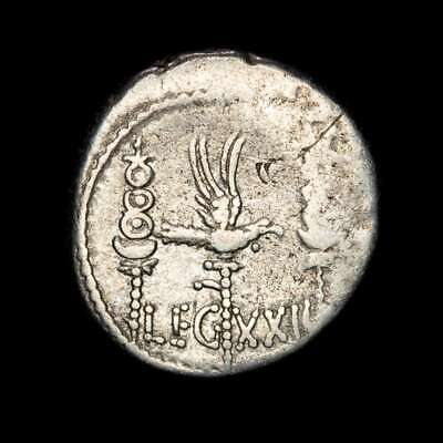 *Lucernae* MARK ANTONY Denarius LEG XXII Eagle, two standards Patrae 32-31 A.D