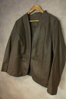Ladies Mink Brown Marks and Spencer Leather Jacket Size 20