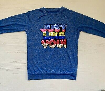 Girls Kidpik Graphic Dri Fit Top Sequins Size 7/8 Or Small Blue