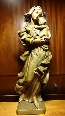 "🕇 Vintage 20"" Hand Carved Wooden Our Lady Virgin Mary & Jesus Christ Statue 🕇"