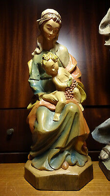 """☩ Vintage 12"""" Carved Wood Sitting Our Lady Mary Madonna + Jesus Christ Statue ☩"""
