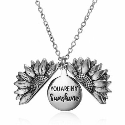 """You Are My Sunshine"" Open Sunflower Pendant Necklaces Women Chain Party Gift"