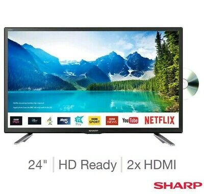 24 Inch LED Smart TV Sharp HD Ready with Built-In DVD Player + Freeview HD Black