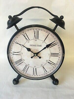 Hometime Mantel Clock, Metal Double Bell Alarm Clock Design. NEW