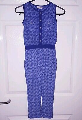 Next Girls 4 Years Playsuit Jumpsuit Navy Blue White Summer Long Trousers