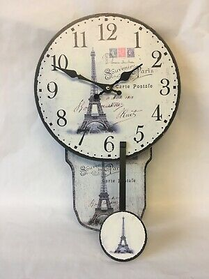 Hometime Wooden Wall Clock With Pendulum. Paris Eiffel Tower Picture, White. NEW
