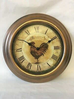 Wall Clock, Plastic with Bronze Colour. Rooster Picture On Face. NEW
