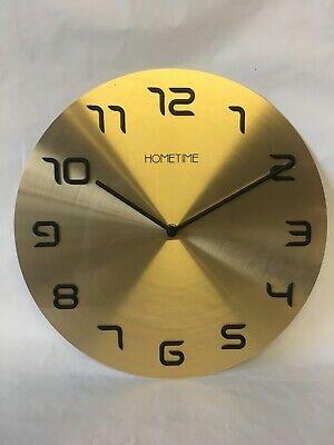 Hometime Wall Clock Metal Gold Colour, With Raised Black Plastic Numbers. NEW