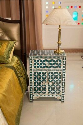 Handmade Mother of Pearl Inlay Bedside Table