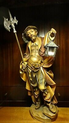 """26"""" Wooden Hand Carved  Pirate Medieval Night Watchman Guard Statue German Gift"""