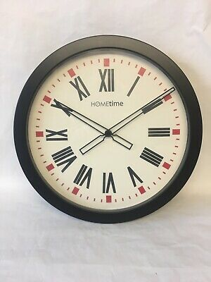 Hometime The Beccles Black Plastic Wall Clock. NEW