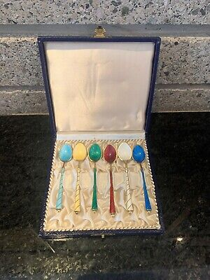 Egon Lauridsen Ela Denmark Sterling Enamel Guilloche 6 Demitasse Spoon Set READ