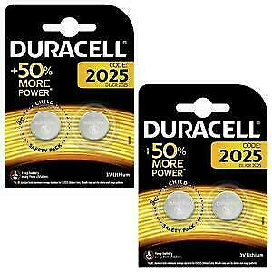 Duracell CR2025 batteries Lithium Coin Cell DL2025 3V Pack of 4 **AUTHENTIC**