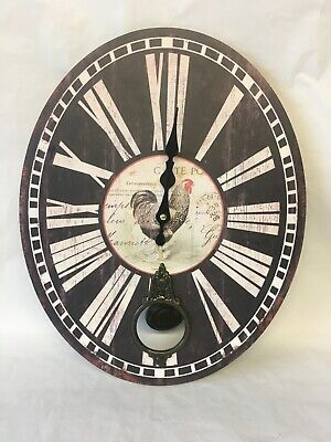 Hometime Wooden Oval Wall Clock With Rooster Picture In Centre. NEW