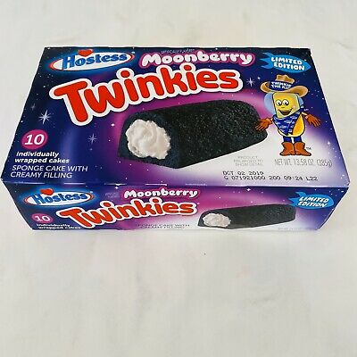HOSTESS MOONBERRY TWINKIES Cakes Box Limited Edition Moon Landing Exp 10/2/19