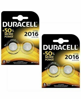 DURACELL BUTTON CELL 3V LITHIUM BATTERY DL2016 CR2016 (Pack of 4)