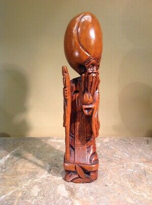 Vtg Hand Carved Asian Wiseman Solid Wood Statue