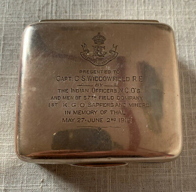 Antique Silver 1919 Chester Hallmarked Cigarette Box. Military Presentation Box