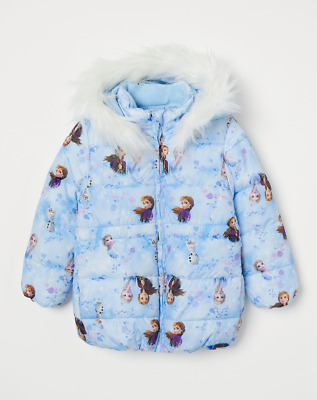 Disney Girls Official Frozen 2 Anna Elsa Olaf Hooded Coat with Faux Fur Trim NEW