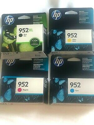 4-PACK HP GENUINE 952XL Black & Color Ink (SEALED BOXES) Cyan, Yellow, Magenta