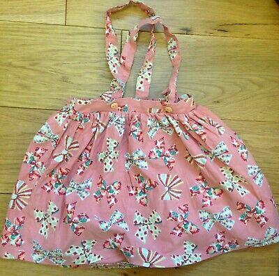 Mothercare Girls Vintage Pink Bow Motif Pinafore Skirt Age 1 1/2 - 2 Years