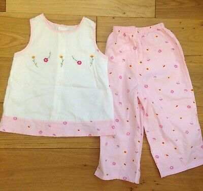 Mothercare Girls Vintage Pink & White Floral Top Trousers Outfit Age 4-5 Years