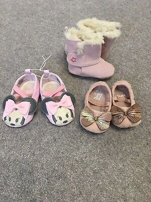 Bundle 3 Baby Girls 0-6 Months Boots Pram Shoes Never worn