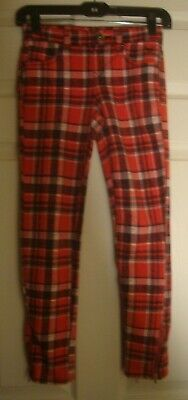 JUSTICE~girl's~RED/BLACK/WHITE/PLAID/zipper/HEMLINE/LEGGINGS!(10) REALLY/CUTE! @