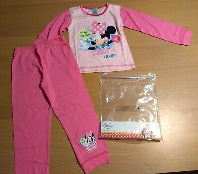 DISNEY Minnie Mouse Girls Pyjamas Long Sleeved Pink Top & Trousers 3-4 Years NEW