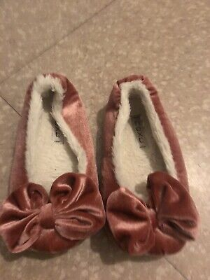 Girls size 13 Pink Next slipper  cosy warmWith Big Bow On Toe Lovely Cute