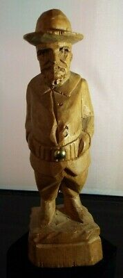 """Vintage 8.5"""" Wooden Hand Carved Scout, Police Figurine."""