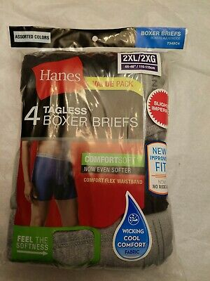 Hanes 4 Pack Men's Underwear Tagless Boxer Briefs Assorted/Solid Colors & Bands