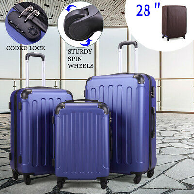 3 Piece Luggage sets Lightweight Durable Spinner Suitcase ABS+PC w/ Cover Blue