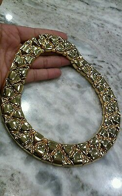 Classy  vintage St.John  gold tone links  collar necklace