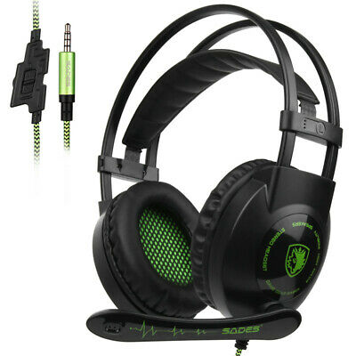 3X(SADES SA801 Stereo Gaming Headset Game Headphone helmet 3.5mm Wired with W9T2