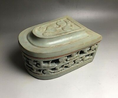 Rare Chinese porcelain Yaozhou kiln cyan glaze carved animal design box