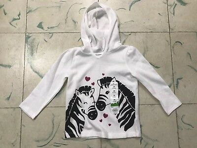 NWT New JUMPING BEANS 24M Girls ZEBRAS/ Hoody/Hoodie GLITTER Hearts