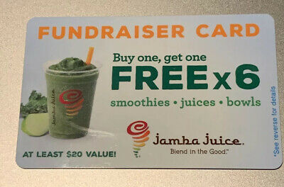 ONE (1) Jamba Juice BOGO Fundraiser Card - Good for 6 Free Smoothies