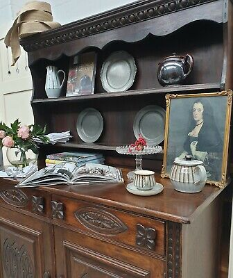 REDUCED OLD CHARM STYLE Oak Welsh Dresser Wall Unit Cabinet DELIVERY AVAILABLE