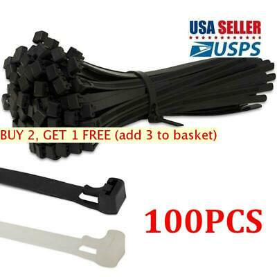 100Pcs Releasable Nylon Releasable Cable Ties Extra Large Zip Ties Wrap Strap US