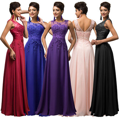 (Clearance) Sleeveless V-Back Chiffon Ball Gown Evening Prom Party Dress 8 Size